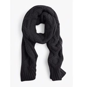 J. Crew Black Oversized Cable-Knit Scarf.